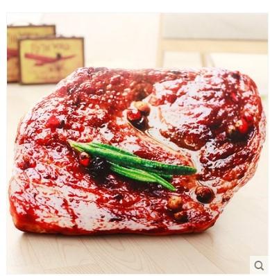 [銀聯網]  仿真小吃食物排骨牛排壽司毛絨抱枕 1入