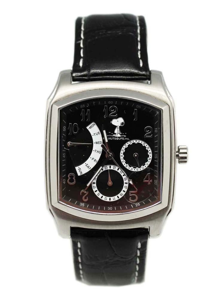 卡漫城Snoopy手錶黑版強化水晶史努比史奴比女錶男錶月曆功能日期星期五折出清
