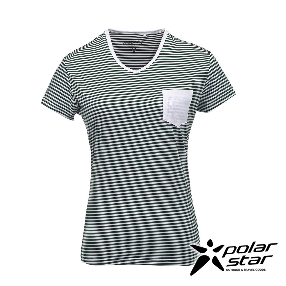 PolarStar女排汗快乾條紋T恤綠P17138吸濕排汗透氣T-shirt短袖運動服瑜珈休閒服短袖透氣運動服