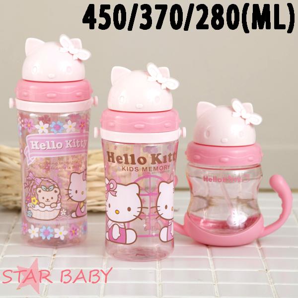 STAR BABY-凱蒂貓HELLO KITTY兒童水壺水瓶雙耳學習吸管水杯背帶吸管水壺
