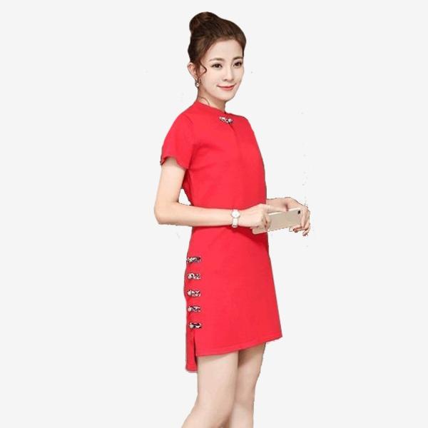 宴會 盤扣領純色彈力短袖雙側下擺盤扣裝飾洋裝 (紅  粉  灰) 11950086