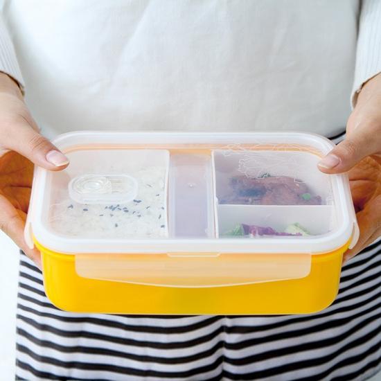 MY COLOR多層分隔保鮮飯盒密封便當卡扣菜盒野餐三明治露營食物外出M126-1