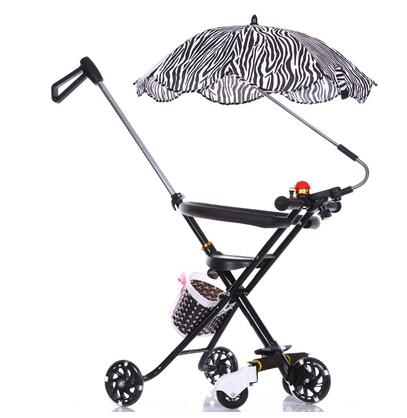 溜娃神器輕便易攜兒童手推三輪折疊3-5-6歲五輪黑色傘-炫彩店
