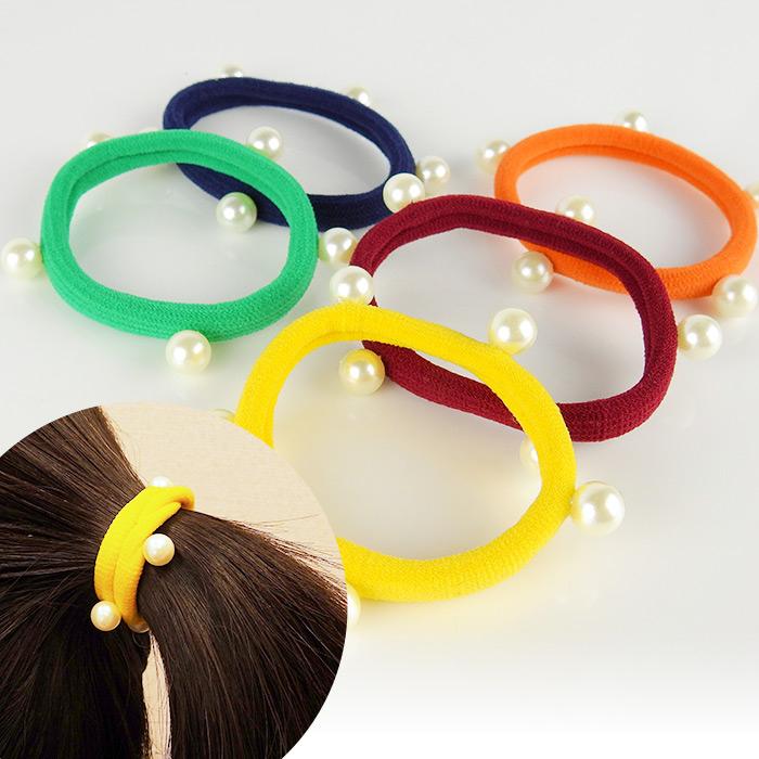 韓版多樣式時尚珍珠毛巾圈髮飾乙入隨機出貨不挑款色86小舖
