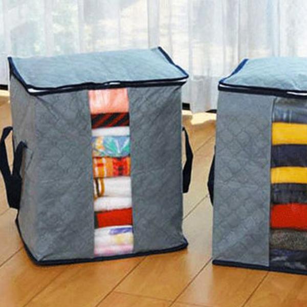 【居家收納第2件1折】【BlueCat】竹炭灰透明單視窗手提衣物整理收納箱(130L)