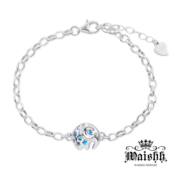 Waishh玩飾不恭幸運小象可開式925純銀誕生石手鍊附贈一顆誕生石
