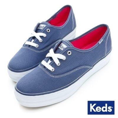Keds TRIPLE 女款藍厚底帆布鞋 NO.KB5590