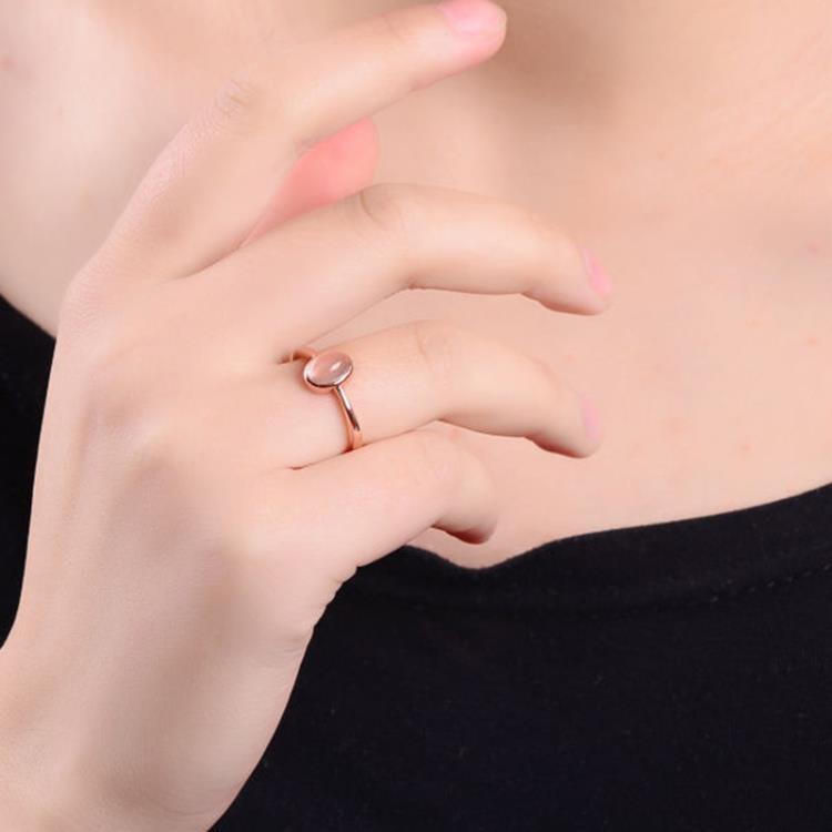 天然白月光貓眼戒指日光石925銀鍍玫瑰金甜美女款