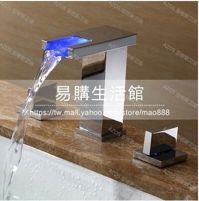 雙把美式瀑布水龍頭浴室雙把分體龍頭冷熱全銅一字型方形款YG-44655