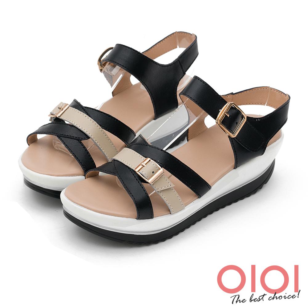 楔型涼鞋 輕夏涼感撞色真皮楔型涼鞋(黑) *0101shoes 【18-525-1bk】【現+預】