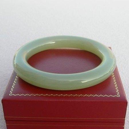 【歡喜心珠寶】【天然新疆和田羊脂白玉圓骨型手鐲】手環19.8圍「附保証書」和「寶石鑑定書」