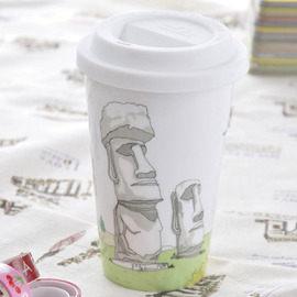 Bella House 我不是紙杯~城市風情系列 雙層陶瓷杯_智利 復活島-莫埃(Moai)巨人石雕群像