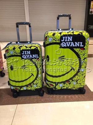 24吋笑臉世界卡通拉桿萬向輪旅行箱密碼行李箱鋁框款YL-XLX190