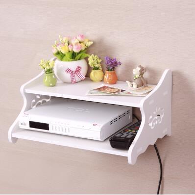 創意牆上電視機頂盒架免打孔置物架客廳路由器收納盒壁掛臥室隔板祥云雙層