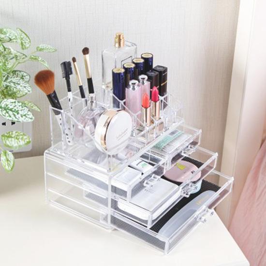 MY COLOR無印風格系列-多格帶抽屜化妝盒透明化妝品壓克力桌面整理盒P272