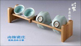 單層竹茶杯架竹制品