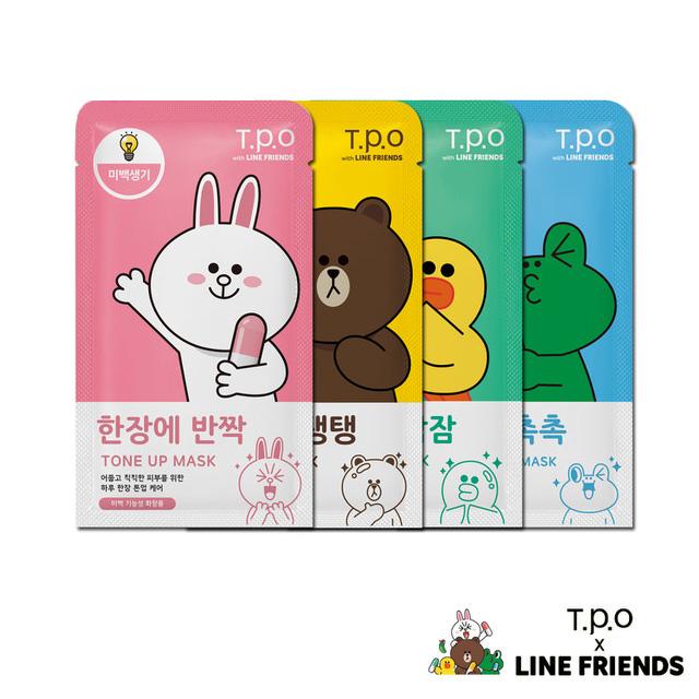 韓國T.P.O-LINE聯名面膜莎莉兔兔青蛙熊大共4款四季百貨