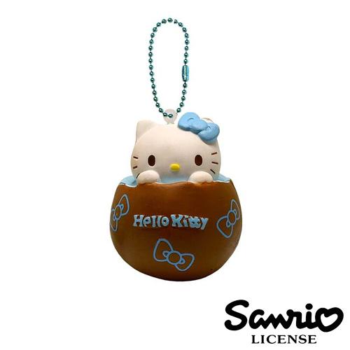 【日本進口正版】凱蒂貓 HelloKitty 藍色款 雞蛋布丁 捏捏吊飾 捏捏樂 美食 軟軟 三麗鷗 - 615244