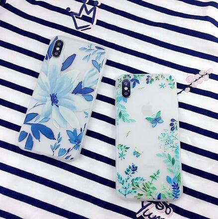 【SZ15】iPhone X手機殼 浮雕蝴蝶水墨花 iPhone ten磨砂全包軟膠保護殼