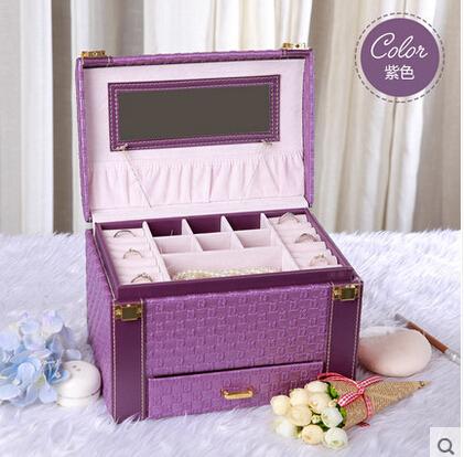 京東生活小物首飾盒木質公主歐式帶鎖韓國首飾收納盒批發絨布手飾盒編織紋拱形