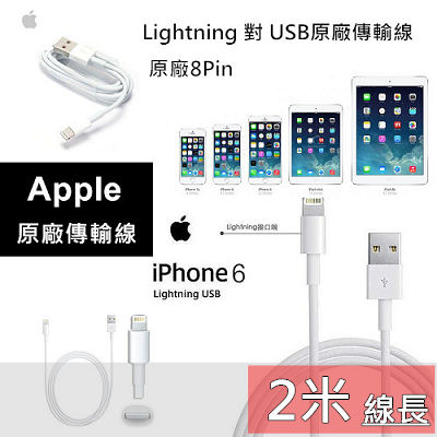 YUI APPLE 2米iPhone 5S 5C 5 iPad 4 iPad Air原廠傳輸線數據傳輸線Lightning原廠充電線200CM裸裝