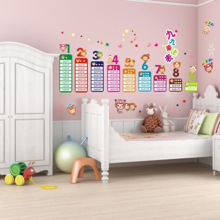 墻紙-兒童房卡通幼兒寶寶早教學習乘法口訣墻紙貼畫墻貼貼紙臥室可移除完美家居