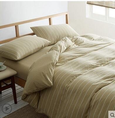 天竺棉四件套純棉簡約條紋床單被套針織棉全棉床笠床上用品茶色寬條