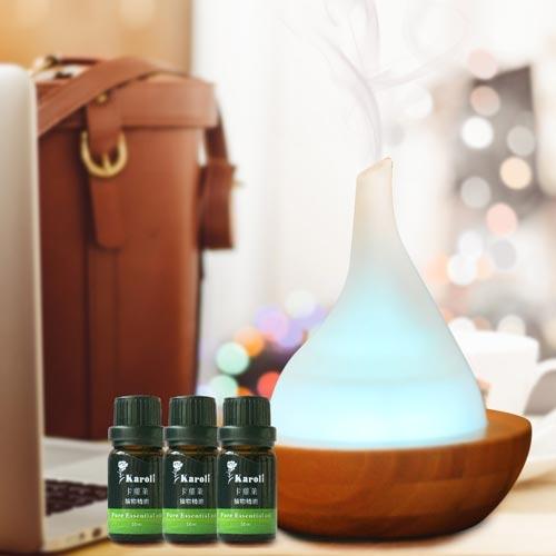 Karoli卡蘿萊玻璃竹子香氛水氧機贈送5瓶精油
