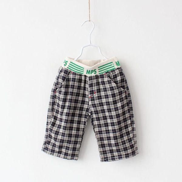 童裝CUCU芯衣草~歐美風男童格子純棉休閒短褲深藍