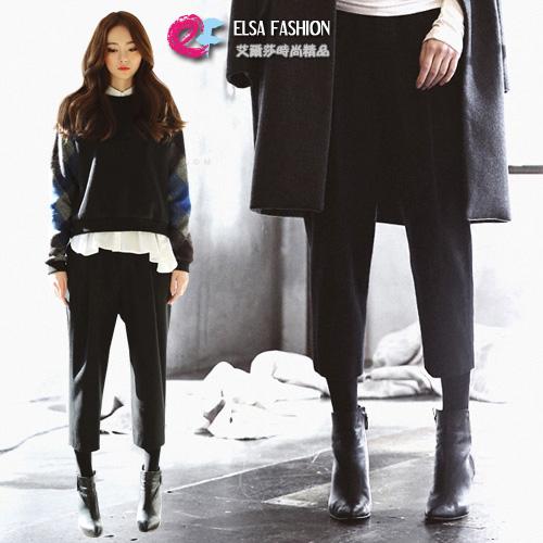 寬褲褲裙復古高腰寬鬆直筒八分褲艾爾莎TAE2638