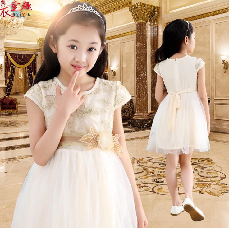 衣童趣韓版女童甜美綁帶刺繡花洋裝後拉鍊紡紗澎澎公主裙正式場合花童白洋裝現貨