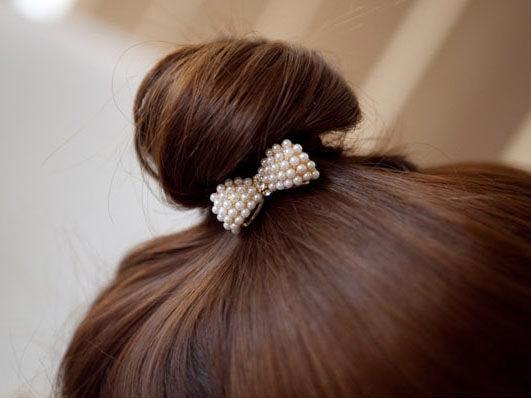 【櫻桃飾品】珍珠蝴蝶結秀氣款滿版髮束 髮圈   【20286】