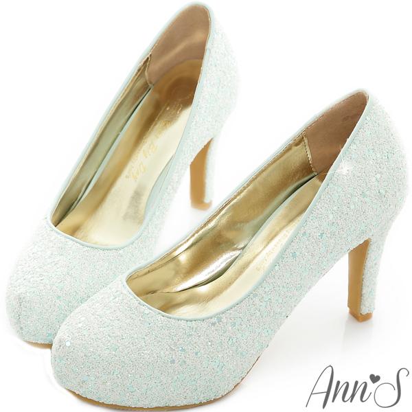 Ann S Bridal幸福婚鞋閃耀單鑽厚底跟鞋-Tiffany藍綠