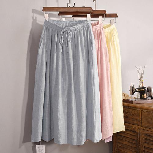 及膝裙亞麻棉裙綁帶A字裙及膝裙長裙LAC1632 BOBI 05 11