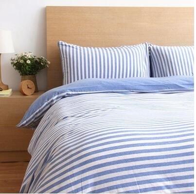 天竺棉四件套純棉簡約條紋床單被套針織棉全棉床笠床上用品米蘭中條