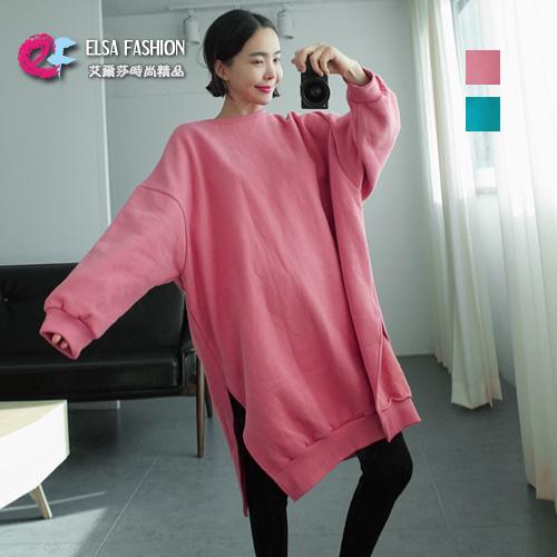 圓領T恤秋冬嫩色雙開叉加绒保暖長版連身衣艾爾莎TGK4333