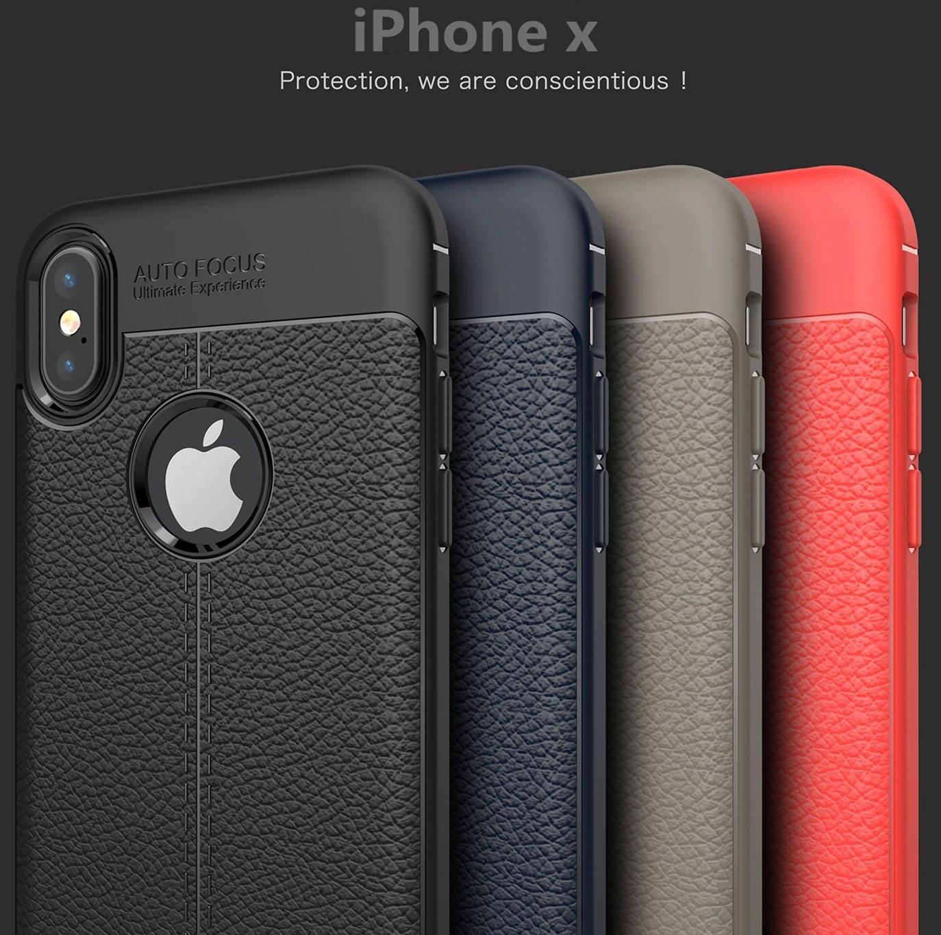 IPhone X荔枝紋手機殼全包防摔保護套TPU軟殼皮紋手感保護殼手機套蘋果X