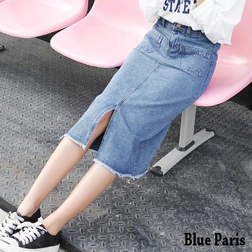 牛仔裙  韓版高腰雙口袋開岔中長牛仔裙 長裙【23360】《M~L》Blue Paris