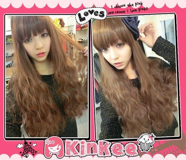 Kinkee假髮mikiyo韓系高仿真啵棒夢幻洋娃娃三管電棒耐熱長捲髮H0088