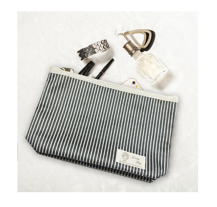 包包【HPN014】韓系女孩條紋化妝包 隨身包 購物包 零錢包 手提包 化妝包 收納女王