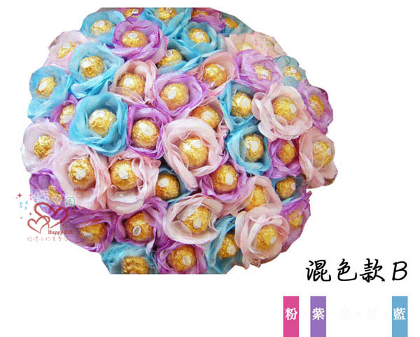 娃娃屋樂園~花朵金莎棒-粉紫藍-混色款B每束1680元抽取式分享花束第二次進場