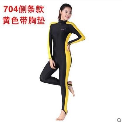 特價全身長袖連體泳衣馬爾代夫防曬冬泳浮潛服防水母衣男女潛水服(側條黃色含胸墊)