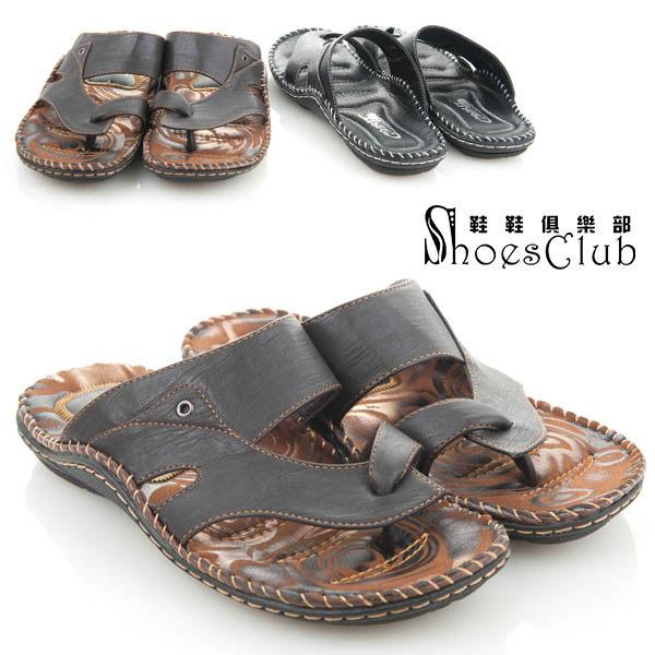 拖鞋.型男必備皮革高質感夾腳拖鞋.黑色【鞋鞋俱樂部】【107-62416】