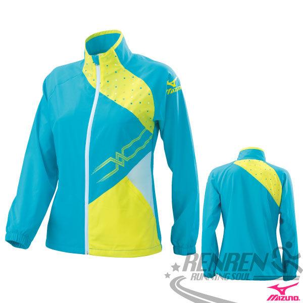 MIZUNO美津濃  女休閒平織運動外套(天藍*螢光黃*白) 抗UV運動套裝外套