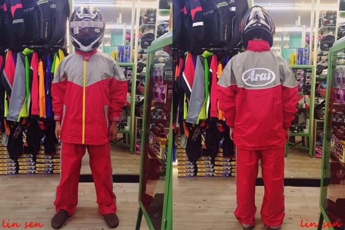 ARAI套裝雨衣,K3,紅灰