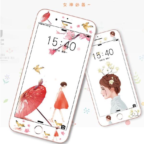 OPPO R9 PLUS R9S PLUS鋼化彩膜卡通玻璃膜手機全屏貼膜OPPO軟邊r9s plus