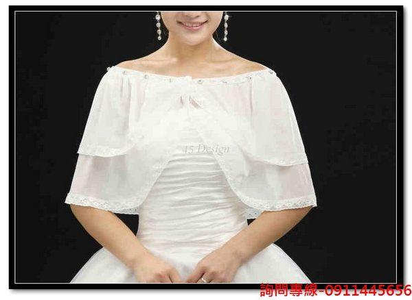 45 Design婚紗禮服客製化7天到貨婚紗披肩春秋夏季新娘薄款坎肩白色禮服披肩小外套