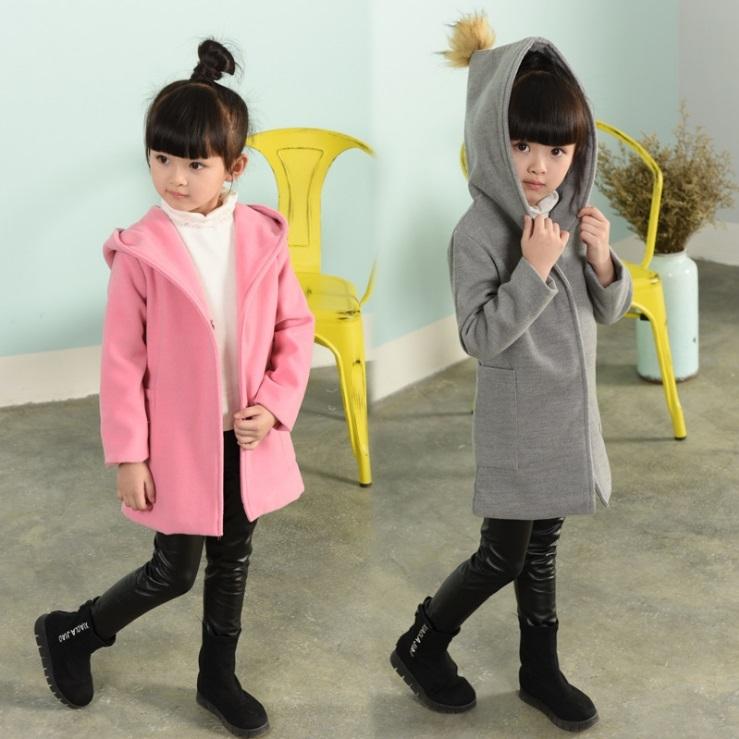 衣童趣♥韓版 中大女童 必備長版外套 連帽毛呢大衣 冬天保暖時尚款外套
