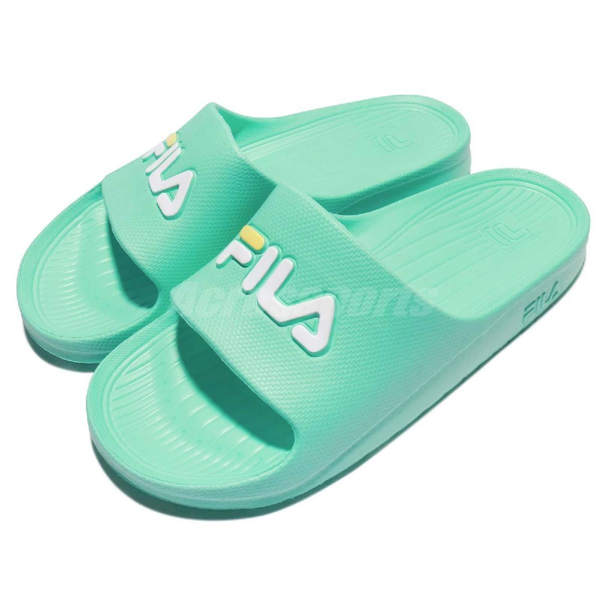拖鞋 FILA 完全防水 綠 白 粉綠 復古 粉嫩色系 一片拖 運動拖鞋 女鞋【PUMP306】 4S355R666