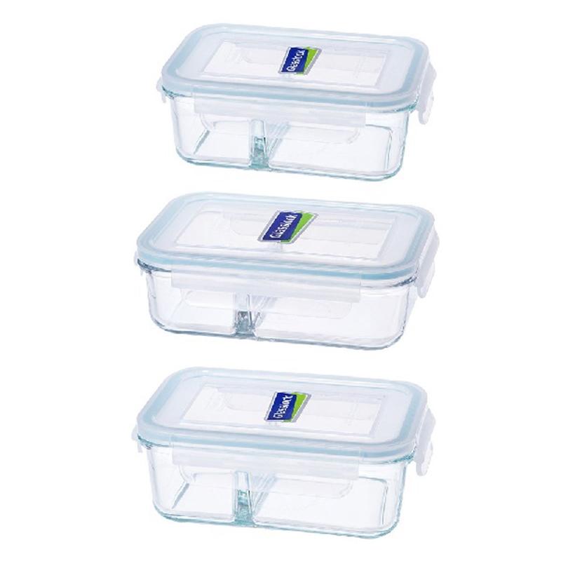 Glasslock強化玻璃分格保鮮盒三件組(670ml 920ml 1000ml)-大廚師百貨